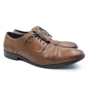 Cole Haan Brown Leather Lace Up Cap Toe Oxfords